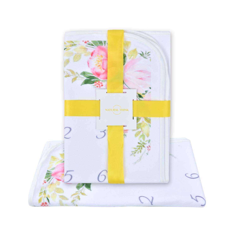 Baby Milestone Blanket Premium Soft Plush Fleece Ideal Baby Shower Gift Perfect Photo Props Bonus Wreath Marker Cute Flower Design Newborn Boys /& Girls Monthly Blanket by Natural Think