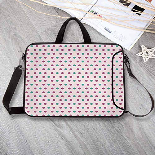 "European Dot - Geometric Anti-Seismic Neoprene Laptop Bag,Vintage Polka Dots Traditional European Motifs Retro Design Elements Abstract Decorative Laptop Bag for Travel Office School,12.6""L x 9.4""W x 0.8""H"