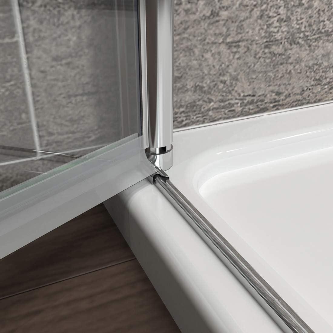 WELMAX Duschkabine 70cm Nische Duschabtrennung Rahmenlos Faltt/ür Duscht/ür 6mm Nano Beschichtung Glas Nischent/ür Dusche H/öhe 195cm