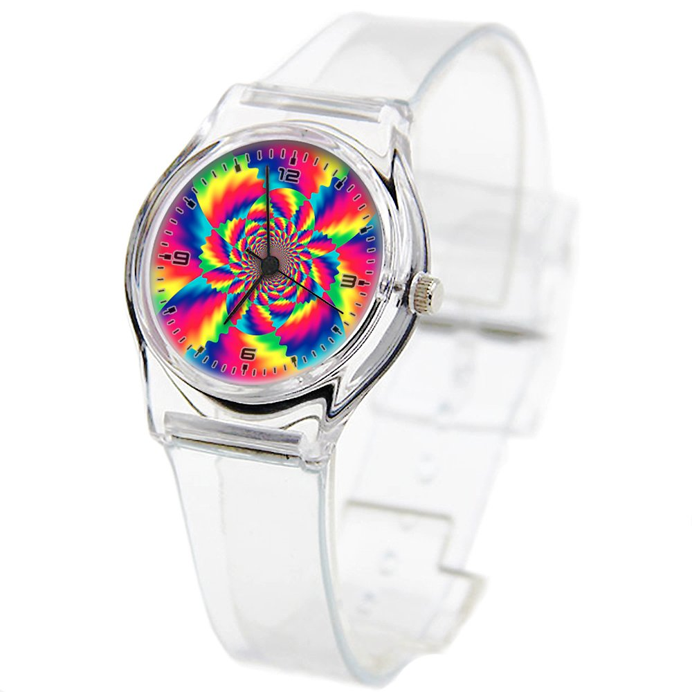 Personality Transparent Wristwatch Transparent Strap Summer Decoration Woman Child teacher Teen Young Girls Children Kids Watches Colorful Flower-627.Vibrant Colored Flower Psychedelic Art