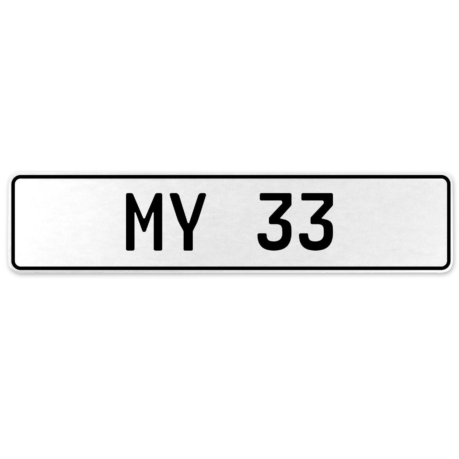 Vintage Parts 555125 My 33 White Stamped Aluminum European License Plate