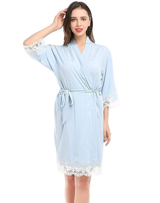 Señoras Albornoz Boda Vestir Algodón Bata Kimono para Aniversario De Bodas Dama Basic De Honor Bata Pijama Ropa: Amazon.es: Ropa y accesorios