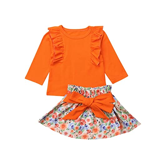 f6fdc077d Amazon.com  Baby Girl Dress Skirt Set Ruffles Long Sleeve Cotton T ...