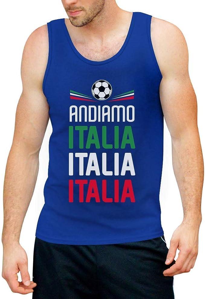 Italia Squadra Azzurra Canottiera da Uomo Shirtgeil Nazionale di Calcio Italiana