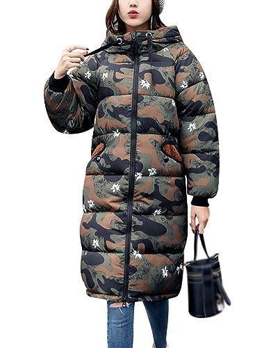 Mujer Espesar Abrigo Largo de Invierno Parka Acolchado Chaqueta con Capucha