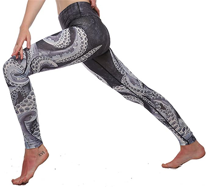 0f807c1a7f19a Image Unavailable. Image not available for. Color: Vamvie Printed Brushed Workout  Leggings High Waist Fitness Running Yoga Pants Octopus L