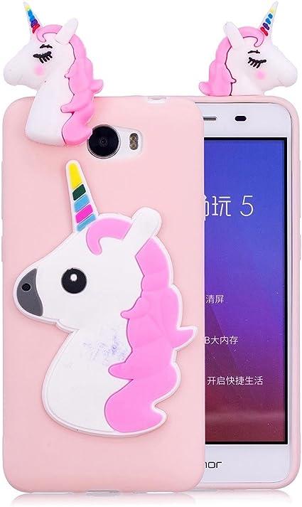 DUGRO Coque Huawei Y5 II / Y5 2, 3D Mignon Cheval Licorne Cartoon Animaux Silicone Souple Bumper [Anti-Choc] Téléphone Protecteur Case - Rose