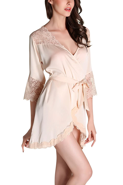 Dolamen Damen Morgenmantel Kimono Kurz, 2018 Luxuriös Spitze glatte Satin Nachtwäsche Bademantel Robe Kimono Negligee Seidenrobe locker Schlafanzug