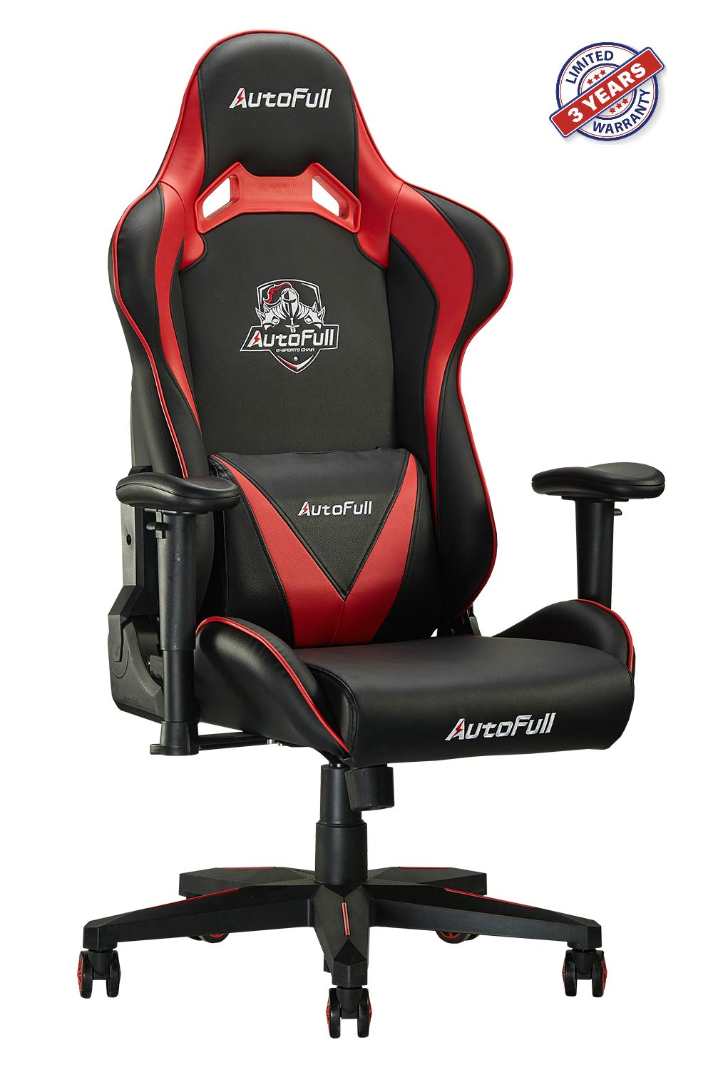 AutoFull Computer Gaming Chair - Adjustable Reclining High-Back PU Leather Swivel Game Chair with Headrest and Lumbar Support (PU, B-Red)