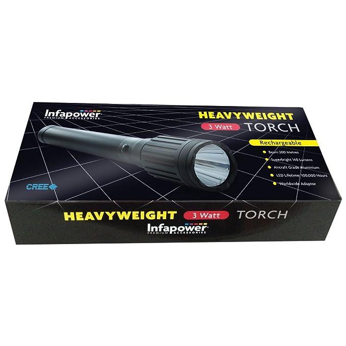 Infapower 3 Watt Powerful Pocket Torch Black 3 Functions 140 Lumens LED Torch