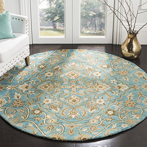 Safavieh Bella Collection BEL673C Handmade Blue and Taupe Premium Wool Round Area Rug (5' Diameter)