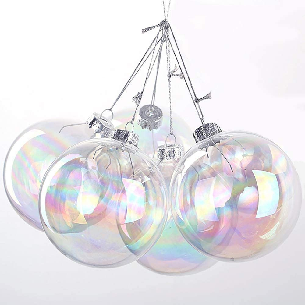 Lilly Rose Creations 5PCS Iridescent Glass Bauble 8cm