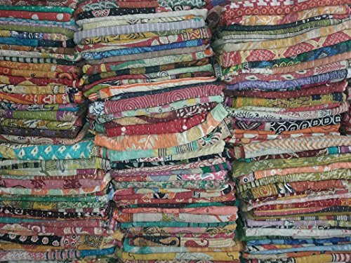 5 Pieces Mix Lot of Indian Tribal Kantha Quilts Vintage Cotton Bed Cover Throw Old Sari Assorted Patches Kantha Quilts Bed Covers Whole Sale Blanket My Crafts (Indian Vintage Sari Tapestry)