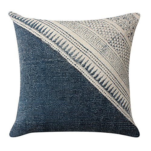 Diagonal Accent - ThymeHome Indigo Diagonal Hand Block Printed Hand Woven Dhurri Indoor Pillow - 100% Cotton Decorative Accent Pillow of 18X18 Inch Multicolor