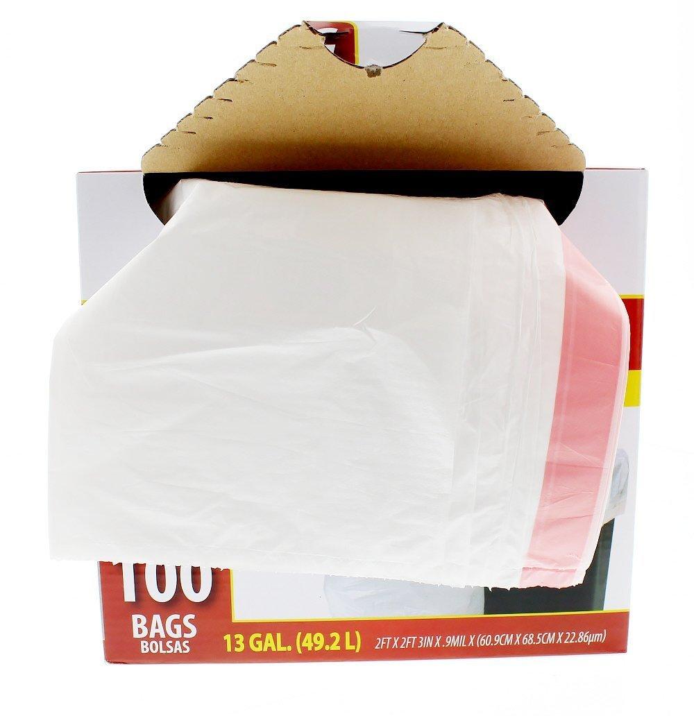 Amazon.com: Ri Pac Tall Kitchen Drawstring Trash Bags - White - 100 ...