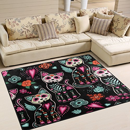 ALAZA Floral Day of the Dead Cat Kitten Sugar Skull Area Rug Rugs for Living Room Bedroom 7′ x 5′ For Sale