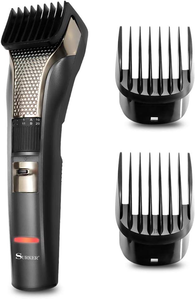 Surker Beard Trimmer Cortapelos eléctrico para hombres Kit de corte de pelo de aseo inalámbrico con peines de hoja ajustable Impermeable USB recargable