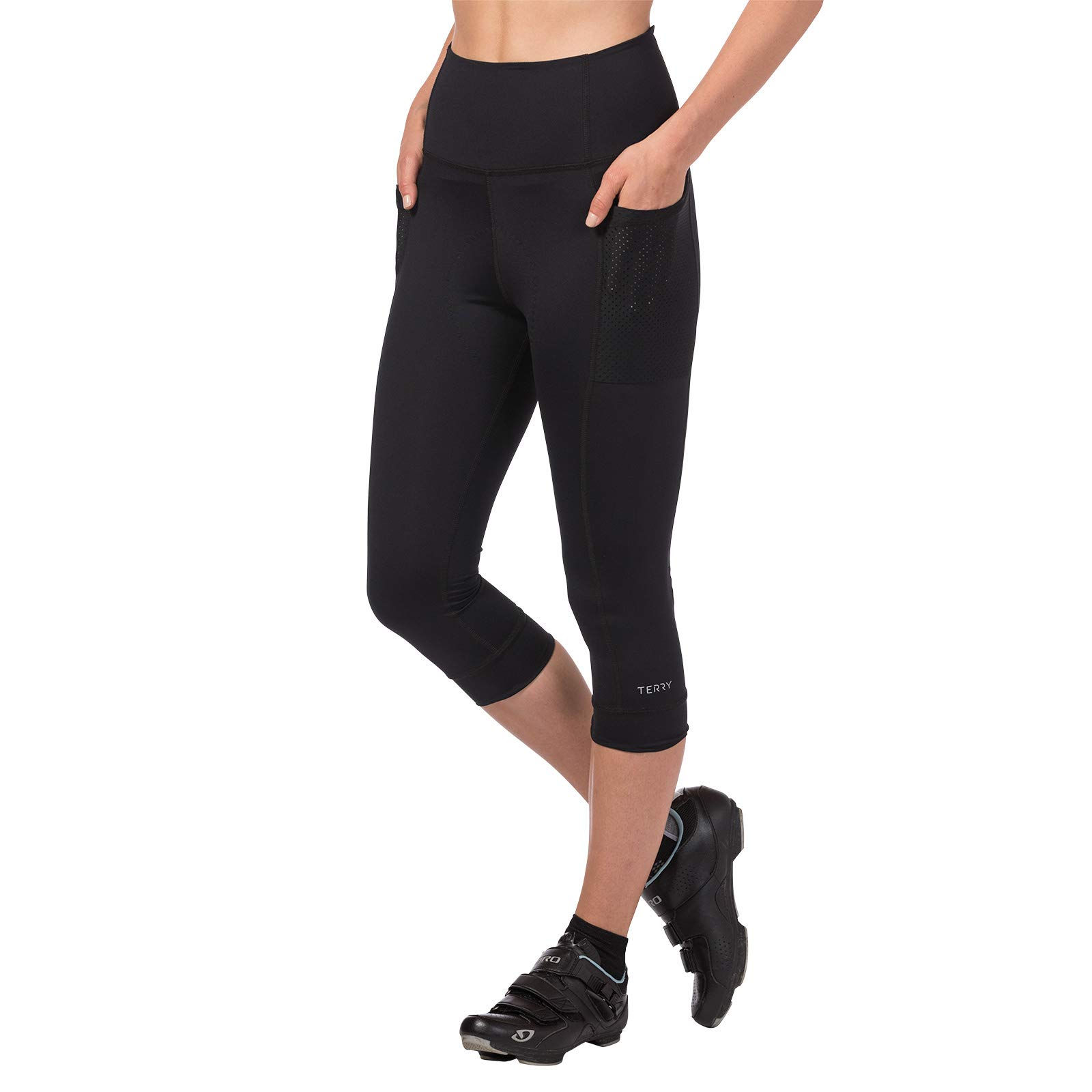 Terry Holster Hi Rise Cycling Capri Pant for Women - Bike Bottoms with Pockets and HI-Rise Waistband Moderate Compression – Black – Small by Terry (Image #1)
