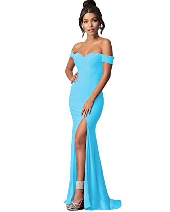 54b02c873db04 LastBridal Women Off The Shoulder High Slit Mermaid Prom Dresses Long  Formal Evening Gowns LB0085 US