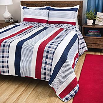 Amazon.com: 3 Piece Madras Blue Red White Striped Quilt Full Queen ... : red and white checkered quilt - Adamdwight.com