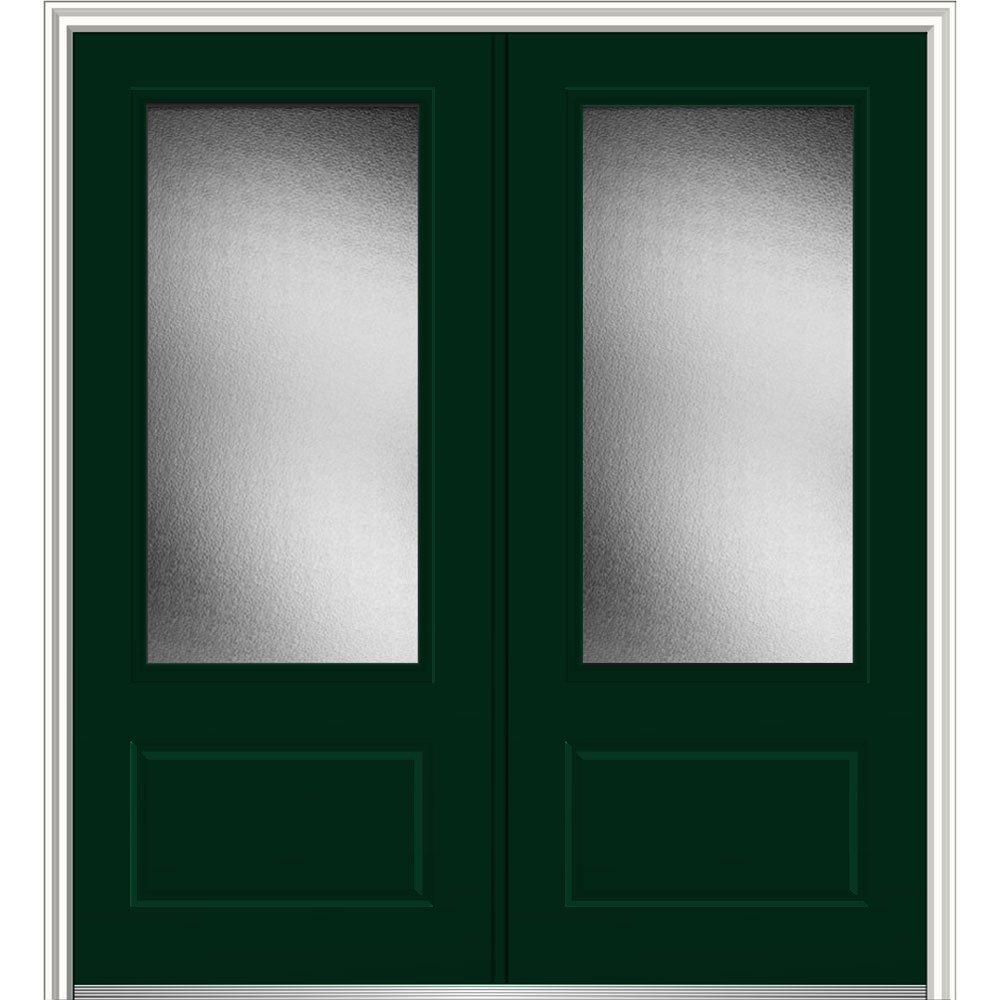 National Door Z0343418L Left Hand In-Swing Exterior Prehung Door, Micro Granite, 3/4 Lite, 1-Panel, Fiberglass, Smooth, 72'', 80'' Height, Hunter Green