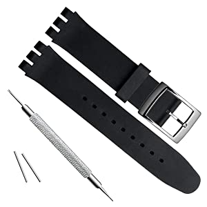 GreenOlive 19mm Replacement Waterproof Silicone Rubber Watch Strap Watch Band (Black)