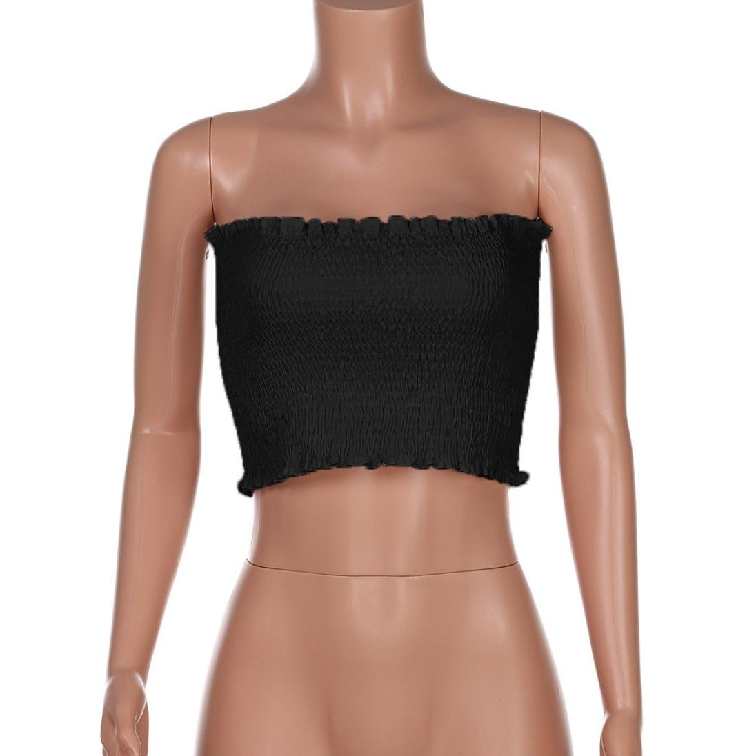 825567c68e Yuxing Women Ladies Summer Strapless Elastic Boob Bandeau Tube Tops Breast  Wrap at Amazon Women s Clothing store