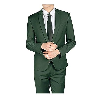 botong 2 pieces dark green men suits one button groom tuxedos
