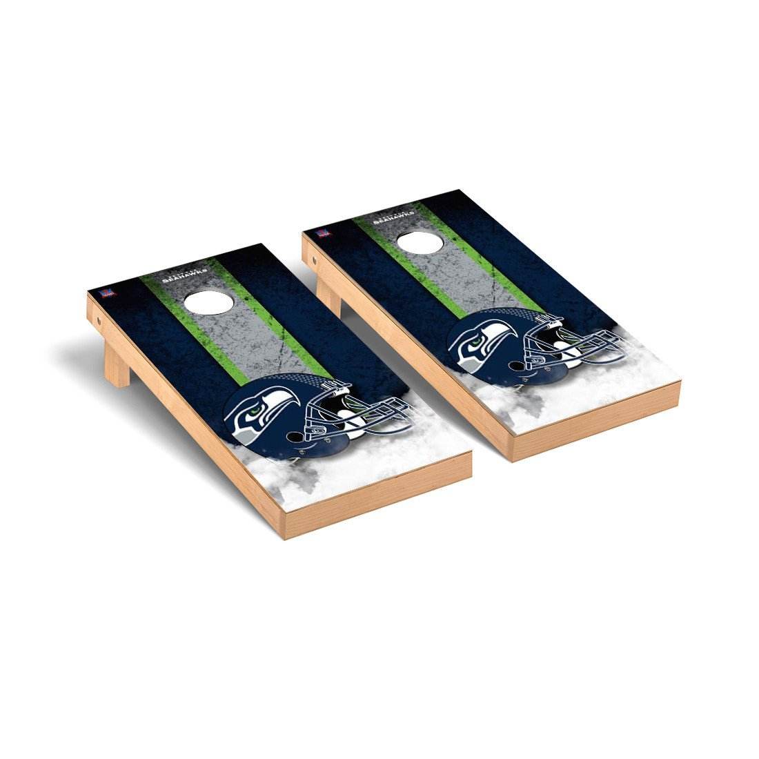 NFL Seattle Seahawks Vintage Version Football Cornhole Game Set, 24'' x 48'', Multicolor by Victory Tailgate (Image #1)