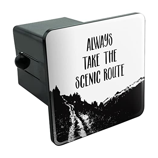 """img buy Graphics and More Always Take The Scenic Route Hiking Travel Tow Trailer Hitch Cover Plug Insert 2"""""""