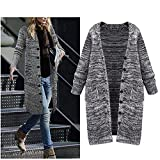 Women's Autumn/Winter Plus Size Knitted Long Cardigan Sweater with Pockets (3X-Large)