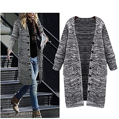 Women's Autumn/Winter Plus Size Knitted Long Cardigan Sweater with Pockets (X-Large)