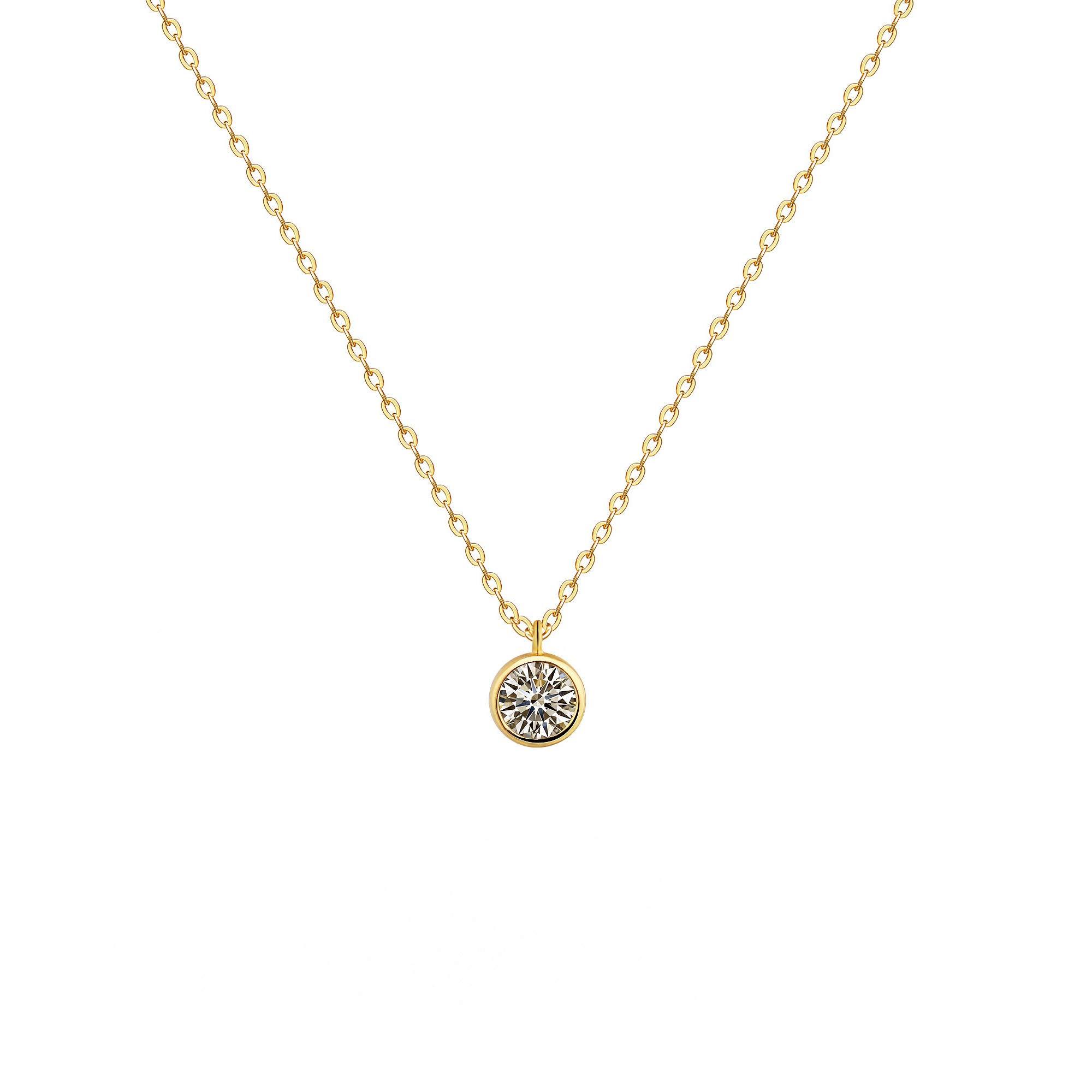 Fettero Cubic Zirconia Pendant Necklace,14K Gold Plated Round Cut CZ Bezel Set Solitaire Necklaces Women,16.5''-L