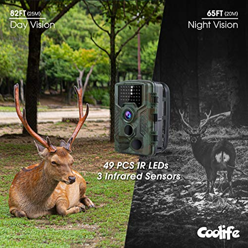 """Coolife Trail Game Camera, 21MP 1080P Hunting Wildlife Camera with 3 Infrared Sensors 49Pcs IR LEDs Night Vision 0.2S Motion Activated IP67 Waterproof 2.4"""" LCD with 32GB Card"""