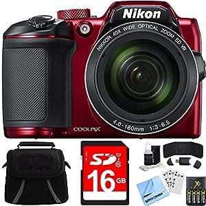 Nikon COOLPIX B500 40x Optical Zoom Digital Camera 16GB Bundle includes Camera, Bag, 16GB Memory Card, Reader, Wallet, Batteries + Charger, Screen Protectors, Cleaning Kit & Beach Camera Cloth