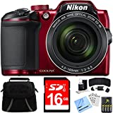 Nikon COOLPIX B500 40x Optical Zoom Digital Camera 16GB Bundle includes Camera, Bag, 16GB Memory Card, Reader, Wallet, Batteries + Charger, Screen Protectors, Cleaning Kit & Beach Camera Cloth (Red)
