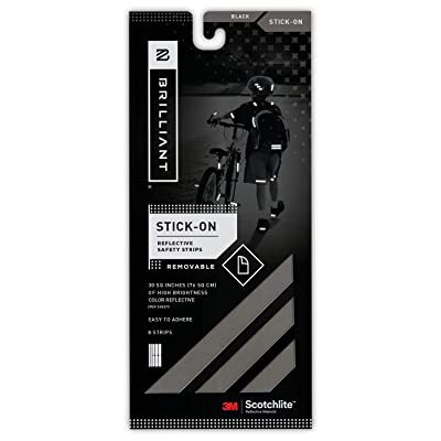 Brilliant Reflective Reflector Strips - Stick-On (Black) - extremely reflective strips with 3M Scotchlite reflective material: Toys & Games