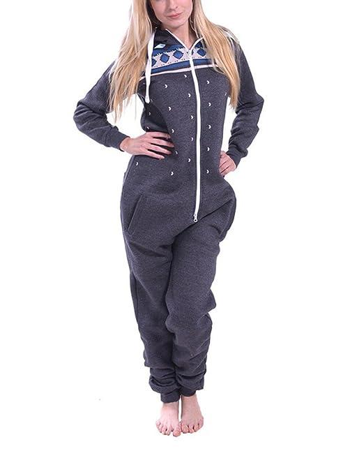 L-Peach Pijama de Una Pieza Mono Onesie Jumpsuit con Capucha para Mujer Cierra con