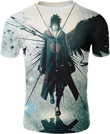 BORO-WY Unisex 3D Impreso Manga Corta Anime Naruto Camiseta ...