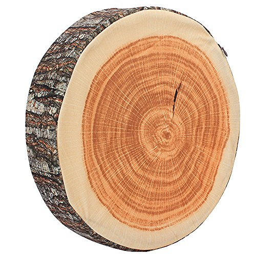BQLZR Brown Wood Tree Round Soft Plush Chair Seat Cushion Decorative Throw Pillow Tree Ring Back Cushion by BQLZR (Image #1)