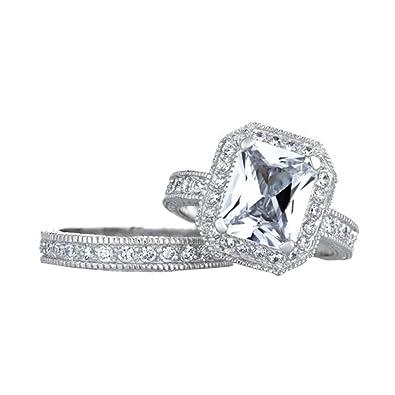 vintage halo emerald cut cz wedding ring set - Cz Wedding Ring Sets