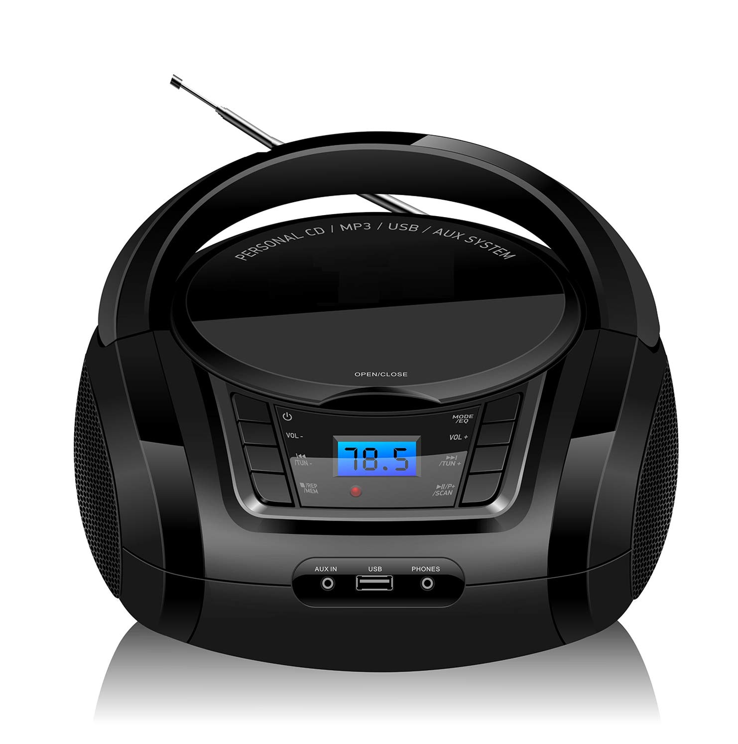LONPOO Portable CD Boombox FM Radio/USB/Bluetooth/AUX Input and Earphone Jack Output with Stereo Sound Speaker Audio Player-Black