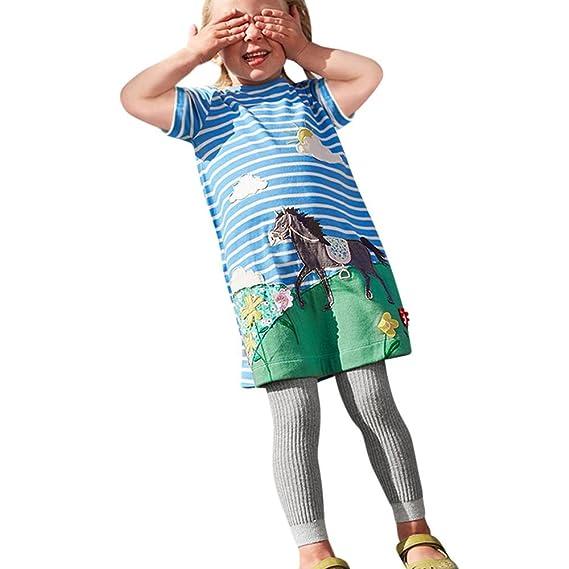 Vestido Camisero de Niñas,Lenfesh Verano Animales Imprimir Vestido Casual Largo de Niñas Casual Manga