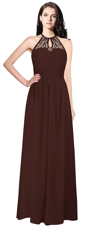 Dark Burgundy Judy Ellen Women Halter Neck Long Bridesmaid Dress Evening Gown J266LF