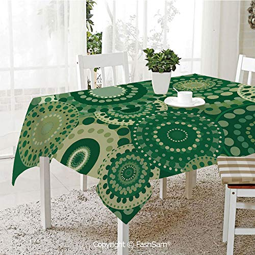 AmaUncle 3D Print Table Cloths Cover Vintage Circular Retro Ornament Floral Figures Dots Ecology Themed Abstract Pattern Decorative Table Protectors for Family Dinners (W55 xL72)
