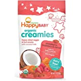 Happy Baby Organic Creamies Freeze-Dried Veggie & Fruit Snacks with Coconut Milk Strawberry Raspberry & Carrot, 1 Ounce…