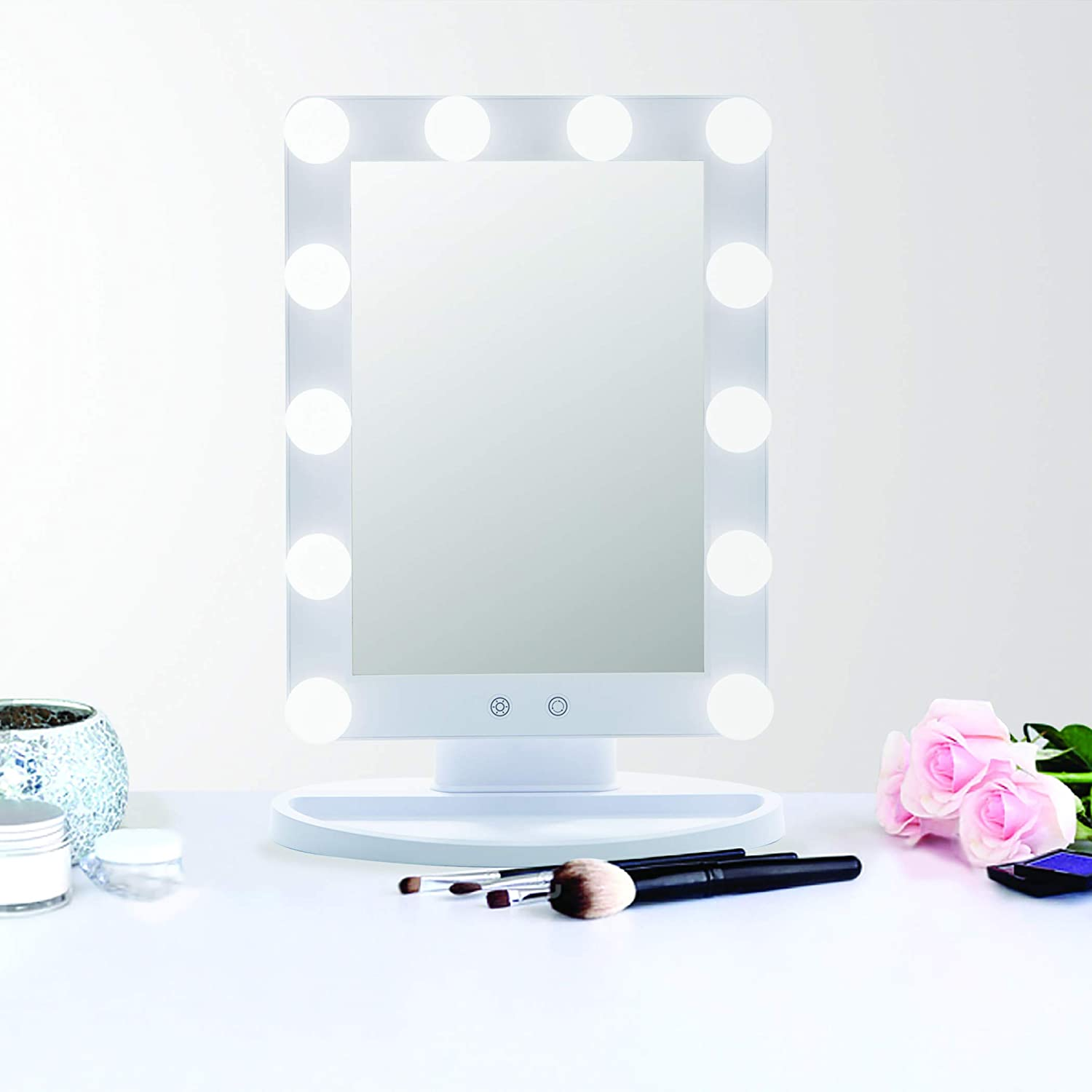 BINO 'Hollywood' Large Makeup Vanity Mirror With Lights - 14 Inch Makeup Mirror With Lights - LED makeup mirror for Bathroom or Bedroom