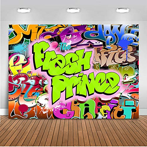 (Mehofoto The Fresh Prince Backdrop Hip Pop Graffiti Background 7x5ft Vinyl Fresh Prince Hip Pop Neon Glow Party Banner Backdrops)