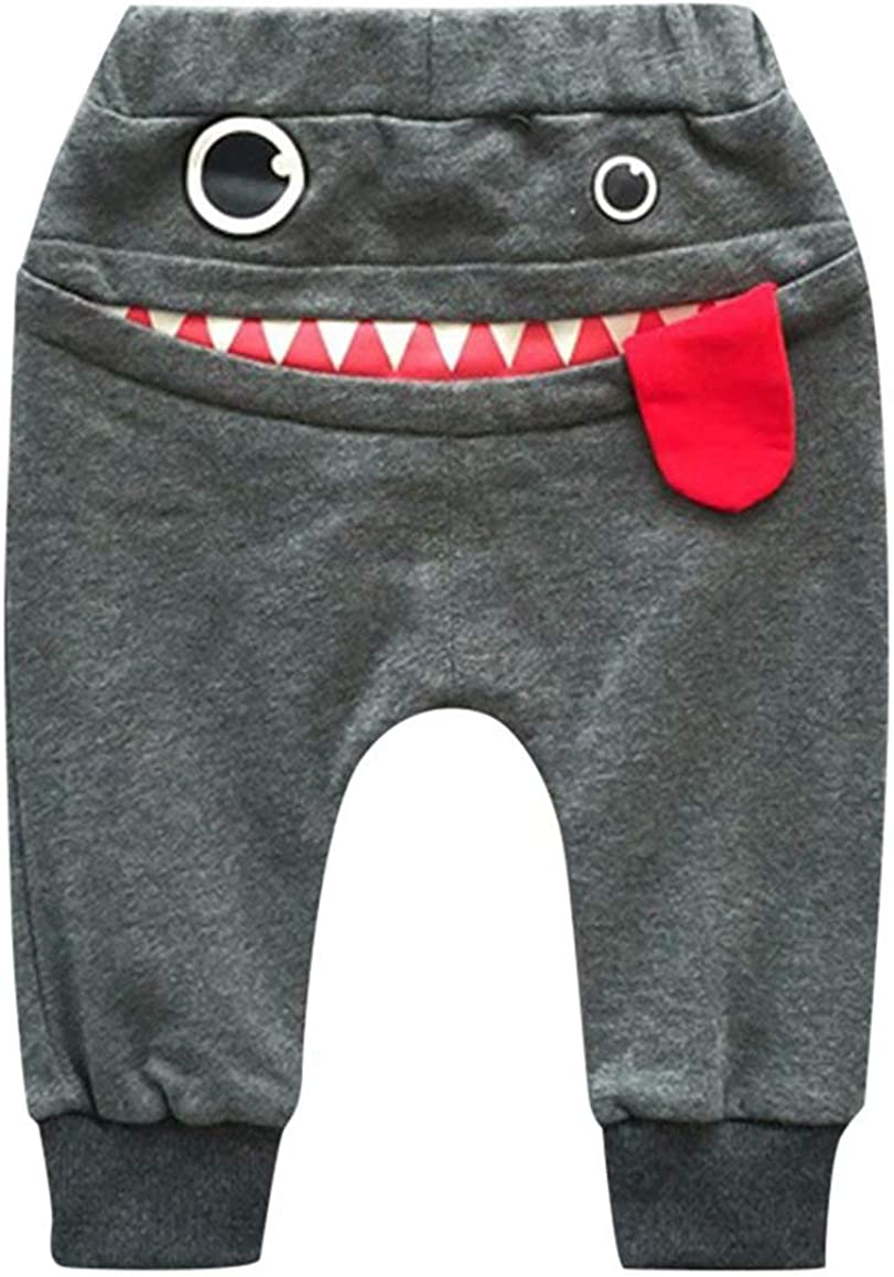 Toddler Boys Girls Cartoon Monster Thick Pants Cute Shark Sweatpants Cotton Harem Trousers Kids Baby Spring Autumn Pants: Clothing
