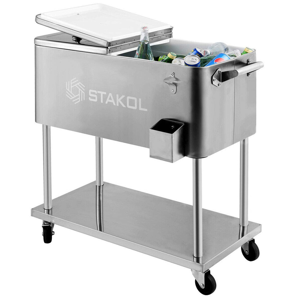 Giantex 80 Quart Patio Cooler Rolling Cooler Ice Chest with Shelf, Wheels and Bottle Opener, Stainless Steel Ice Chest Portable Patio Party Drink Cooling Cart (Sliver)